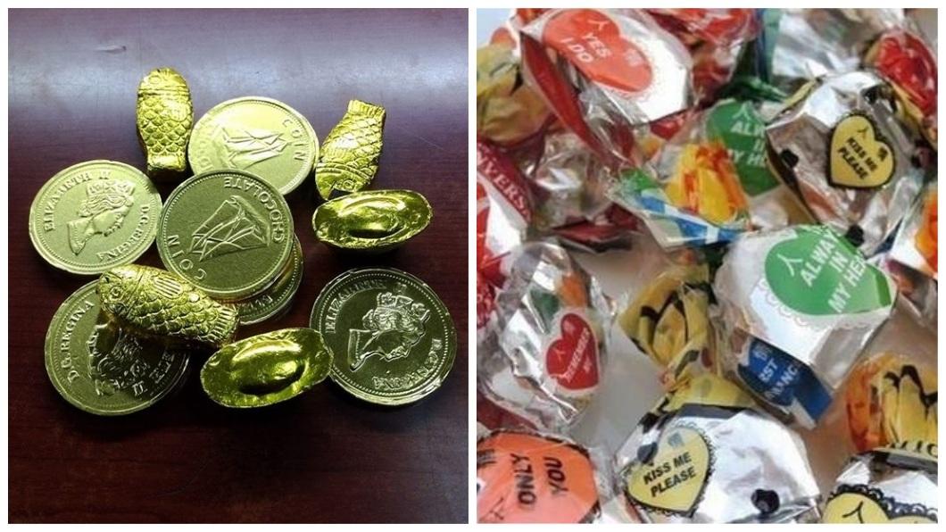 金幣、金魚、金元寶巧克力和情人糖也是網友認為難吃的糖果種類。(圖/翻攝自爆廢公社二館)