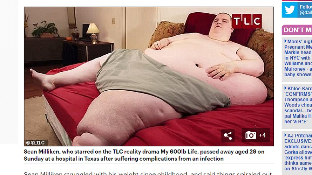 美國408公斤胖男因上節目聲名大噪,不料近日傳出病逝消息。圖/翻攝自 每日郵報 預言活不過30歲 408公斤知名胖男29歲猝死