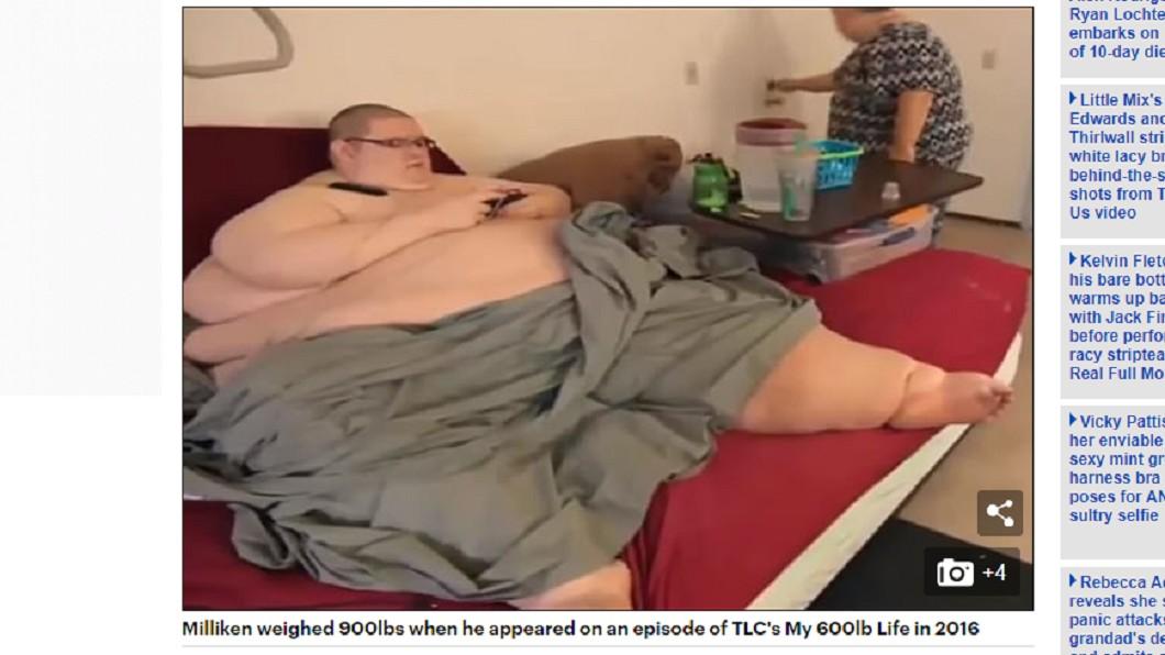 米利肯太胖無法自理生活,全靠母親照顧。圖/翻攝自 每日郵報