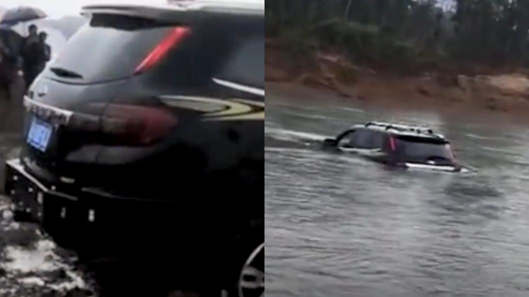 圖/翻攝自秒拍 開越野車過河…妻女慘被沖走 他哭:只是想測試性能…