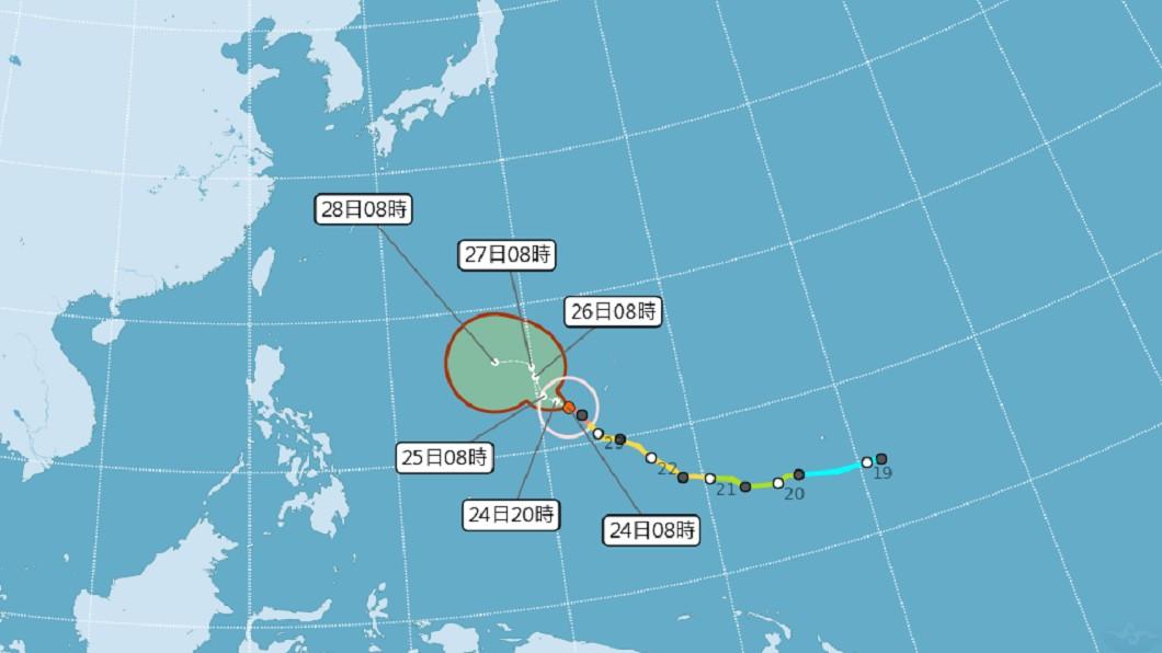 2019/02/24 08:00 蝴蝶颱風路徑潛勢預報。(圖/氣象局) 颱風蝴蝶變強颱 氣象局:有紀錄以來最強2月颱