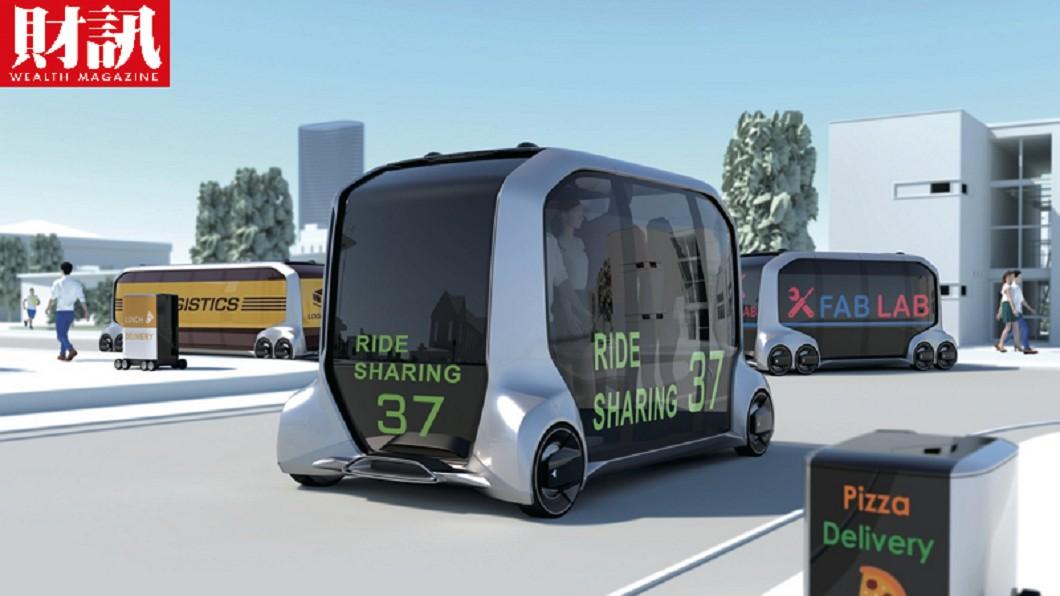 日本豐田自製的無人自駕電動小巴e-Palette。圖/《財訊》提供 日本直擊 豐田未來車搶先曝光