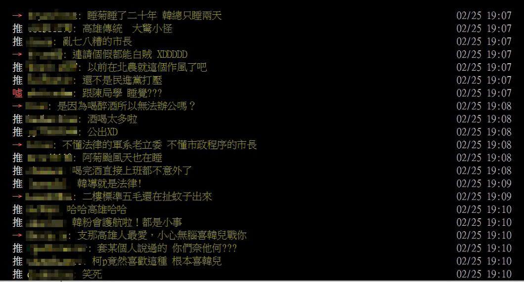 網友對韓國瑜「公出」爭議看法兩極。圖/翻攝PTT