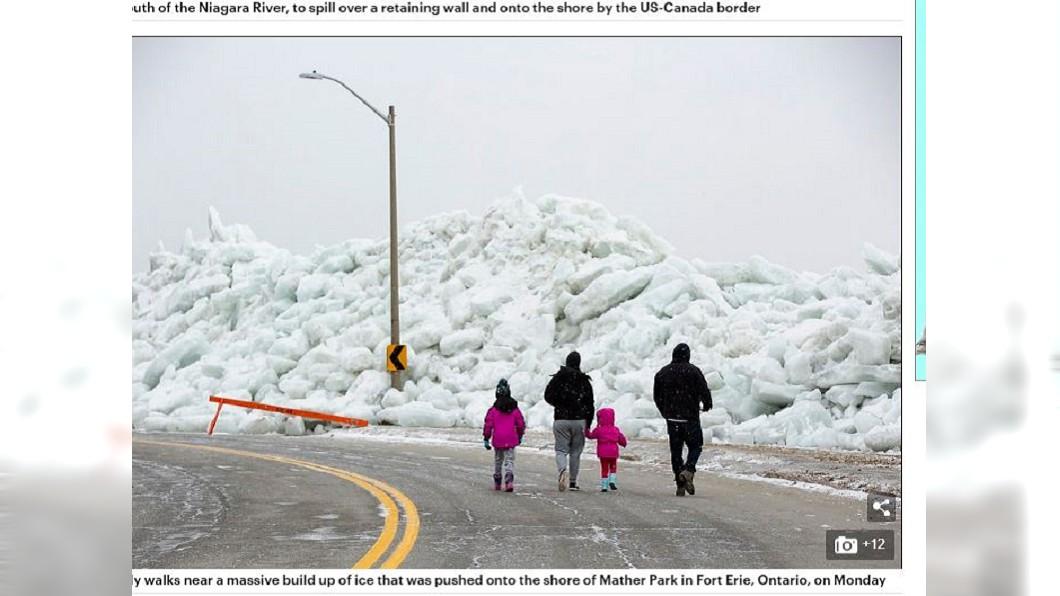 湧上岸的冰牆高度比人還高。圖/翻攝自《每日郵報》