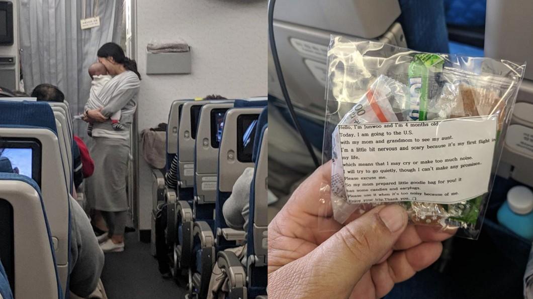 圖/翻攝自 Dave Corona 臉書 暖媽擔心寶寶搭飛機哭鬧 準備小禮物向乘客道歉