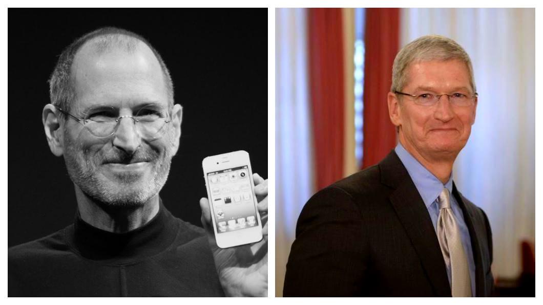 庫克(右)和賈伯斯(左)經營策略不同,造就蘋果電腦和iPhone不同的命運;賈伯斯時代,蘋果幾乎每一兩年都有革命性的偉大科技產品誕生;在庫克時代,蘋果股價及營收獲利迭創新高,不僅市值破兆美元,也讓蘋果這家公司達到歷史最顛峰。  圖/中央社
