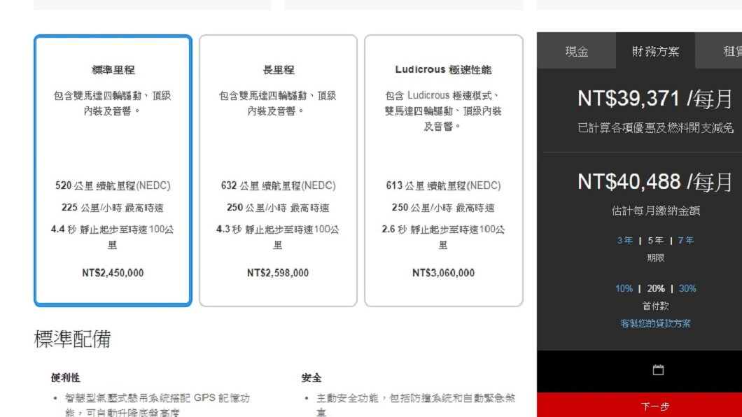 Model S空車價。圖/翻攝自特斯拉官網