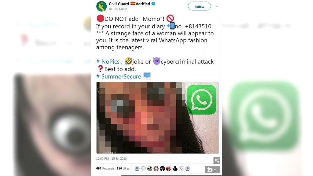 西班牙媒體呼籲民眾拒絕加入「 Momo」的帳號。圖/翻攝自每日郵報 怪女Momo指使?男童吞藥 病床上唸「會聽從主人」