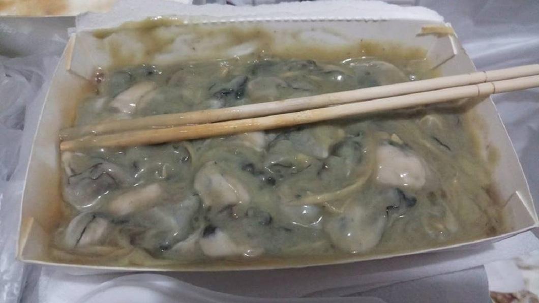男網友還分享將芥末醬攪拌之後的蚵青,更讓他立刻食慾全消。(圖/翻攝自爆廢公社)
