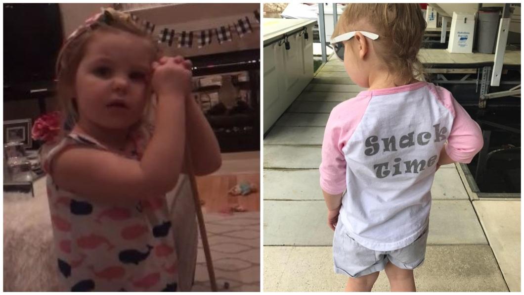 這名可愛的3歲小女娃,日前自爆在學校用鎖喉技撂倒班上一名男同學。(圖/翻攝自臉書) 放大絕「鎖喉技」撂倒男同學 3歲女娃:他向我求婚