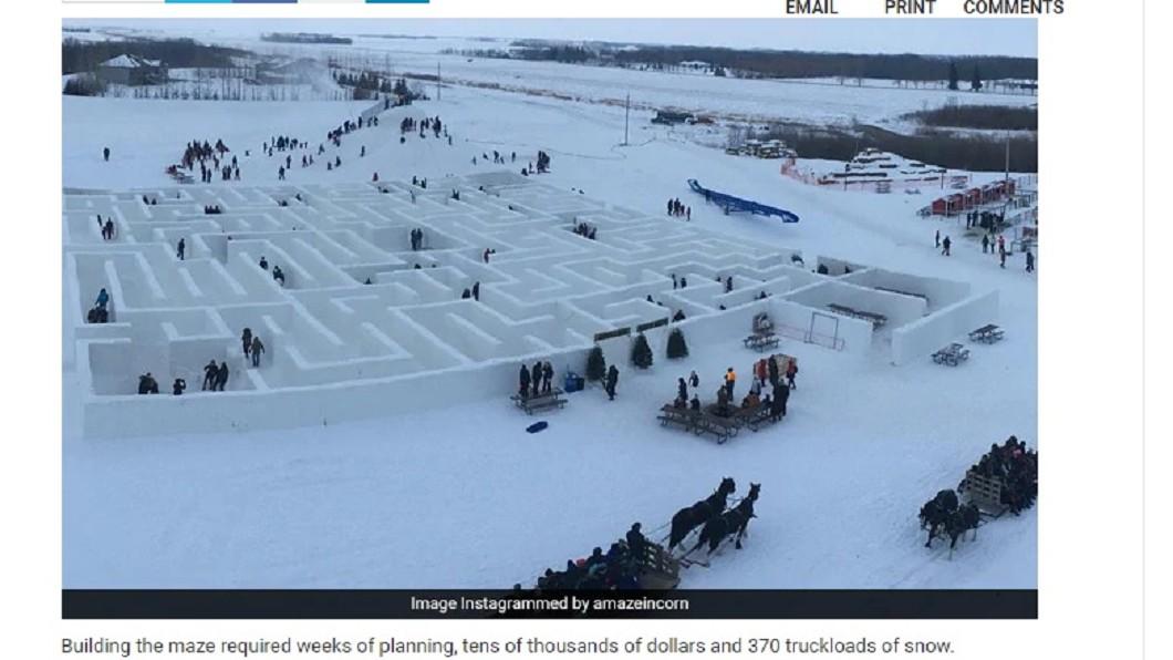 圖/翻攝自NDTV網站 加拿大最大雪地迷宮 獲金氏世界紀錄認證
