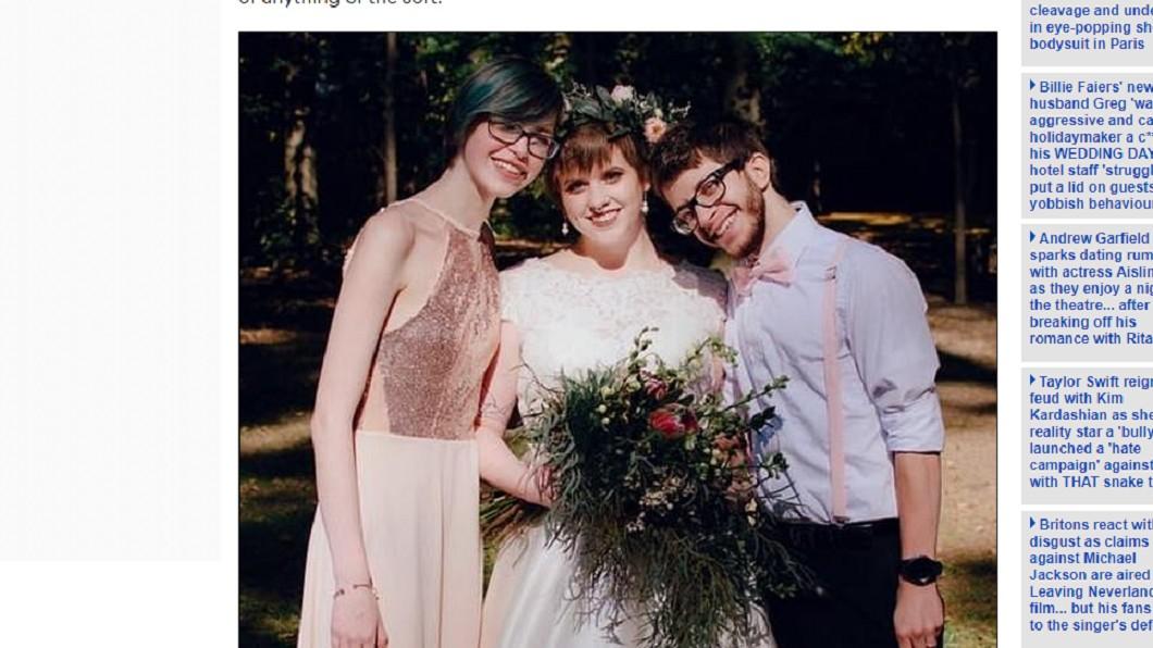 卡拉林(中)和丈夫賈斯汀(右)、女網友蕾娜(左)展開婚後三人行生活。圖/翻攝自 每日郵報 超展開!新婚夫妻恩愛宴客 伴娘一吻…竟變3人行