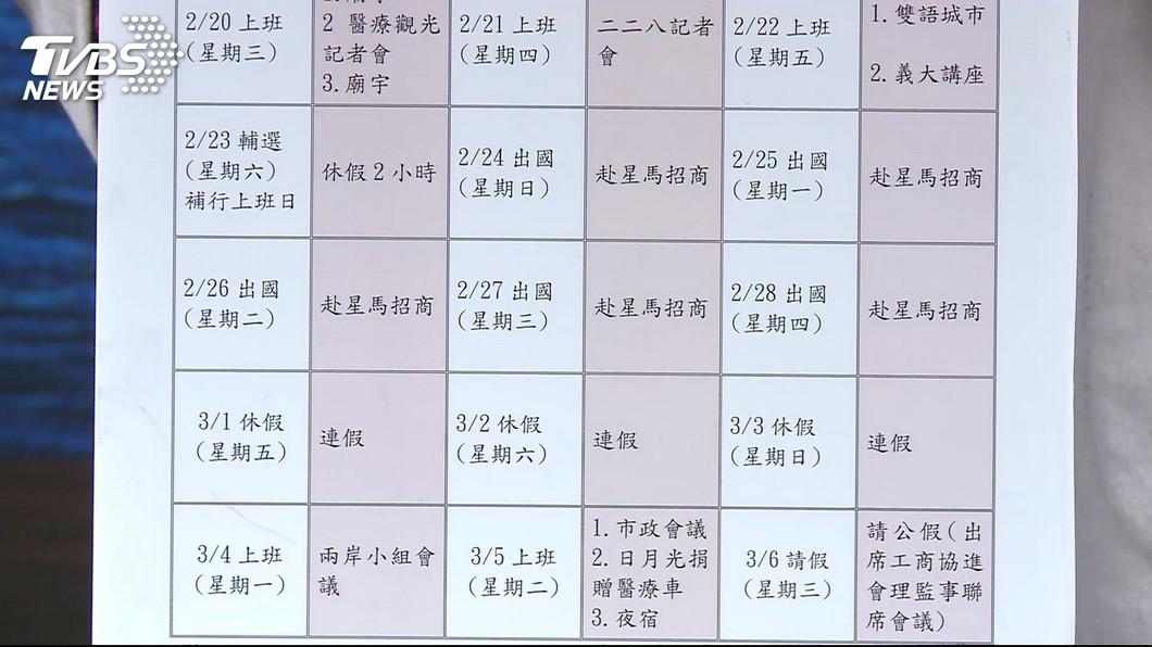 高雄市府公布韓市長的假單,澄清「請假王」的流言!圖/TVBS