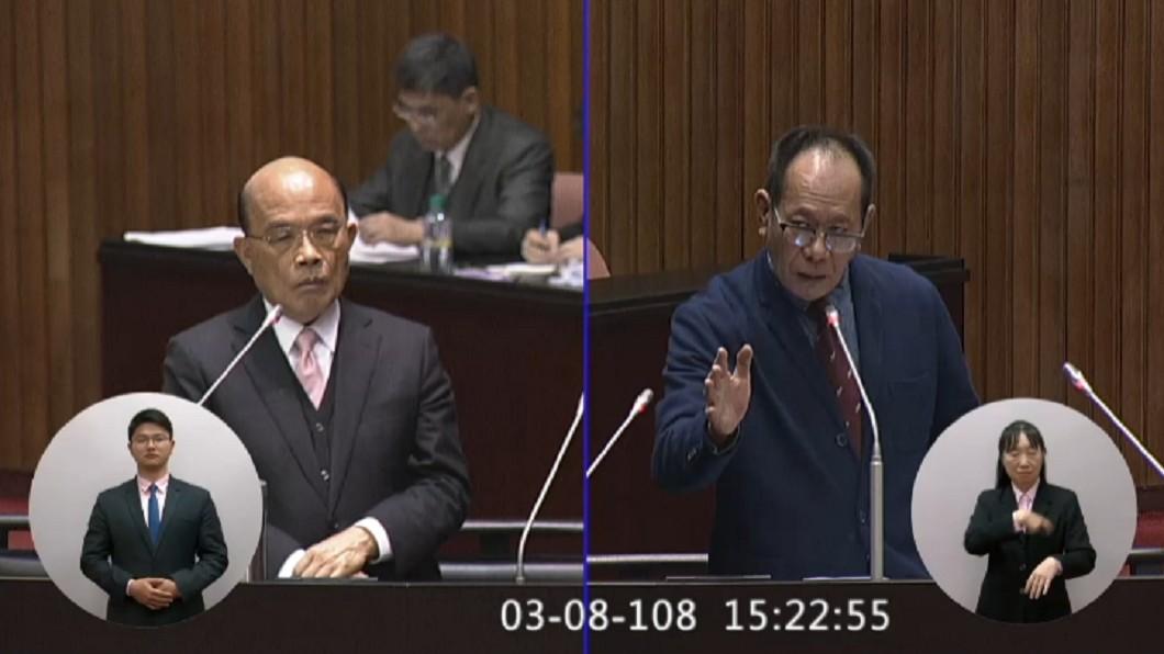行政院長蘇貞昌(左)、國民黨立委陳超明(右)。圖/翻攝自立法院網站