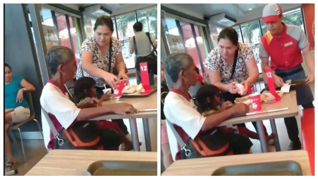 菲律賓一名好心婦人請一對乞丐祖孫吃速食,網友們看到過程直呼超感動。(圖/翻攝自臉書) 祖孫在速食店前行乞…暖心婦送餐請他們吃 網友感動哭了