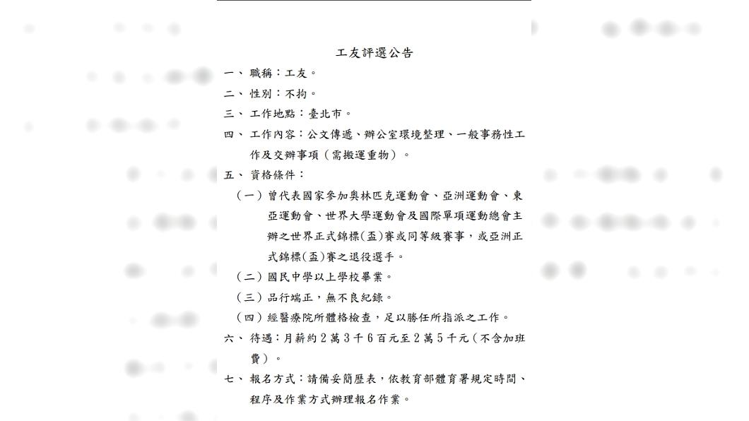 圖/翻攝自中華民國跆拳道協會 央行開25K工友缺 竟要求參加過亞、奧運