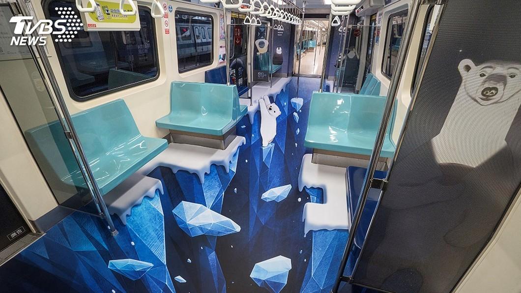 圖/歐萊德提供 北捷超酷3D冰層彩繪車廂上路 感受北極熊的生存危機