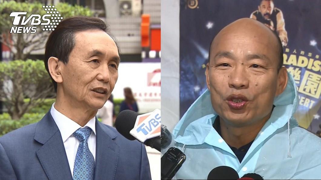 高雄市長韓國瑜(右)、美麗島電子報董事長吳子嘉(左)。圖/TVBS 他爆韓國瑜「百分之百」選總統! 背後2大主因曝