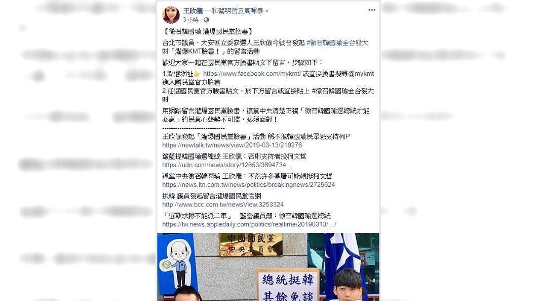 圖/翻攝自王欣儀臉書