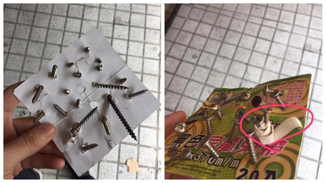 有網友分享今日今天準備出門前,竟發現停在自家門前的車子後輪,被人放了插滿螺絲釘的紙片。(圖/翻攝自爆廢公社) 夭壽!自家門前移車 右後輪驚見「18根螺絲釘」
