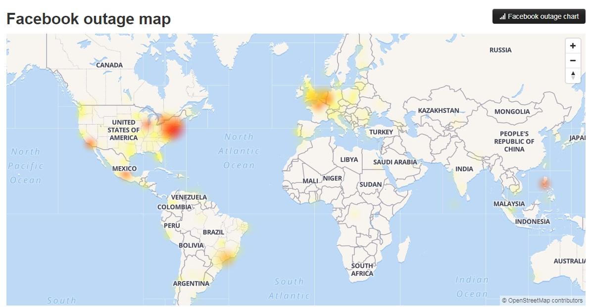 臉書全球大當機災情圖,台灣也是一片紅。圖/Down Detector