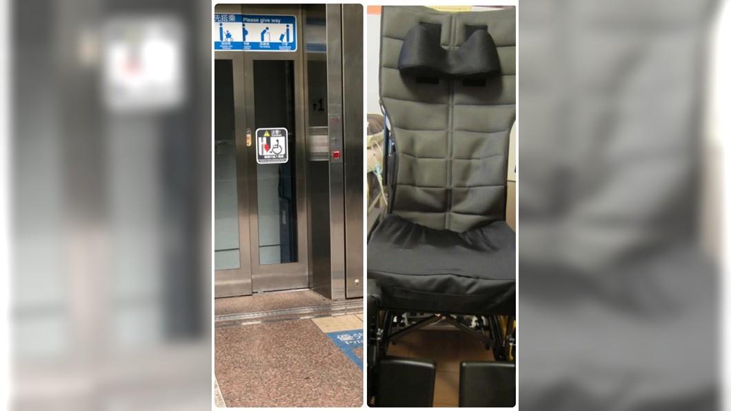 由於網友妻子全身癱瘓乘坐大型輪椅,因此得搭乘電梯。圖/翻攝自「爆怨公社」 幹嘛帶她出來!男帶癱瘓妻搭捷運 路人白目問題惹人怒