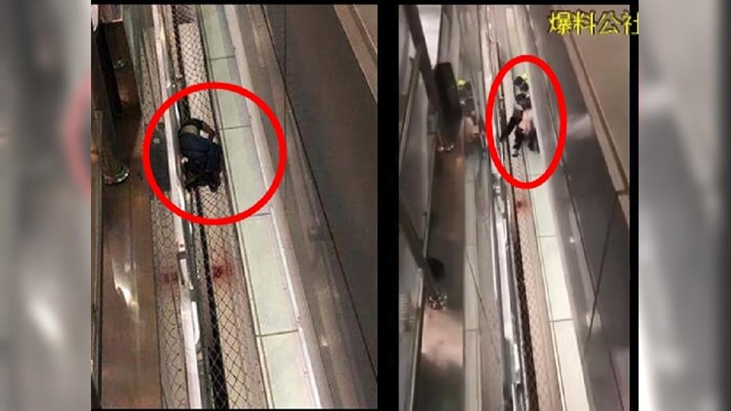桃園機場二航廈墜樓意外,有兩人摔落在手扶梯防護網上(左圖,紅圈處),航警救起一名失去意識的女子(右圖,紅圈處)。圖/爆料公社 恐怖情人?桃機驚傳墜樓意外 目擊者:被推下去的