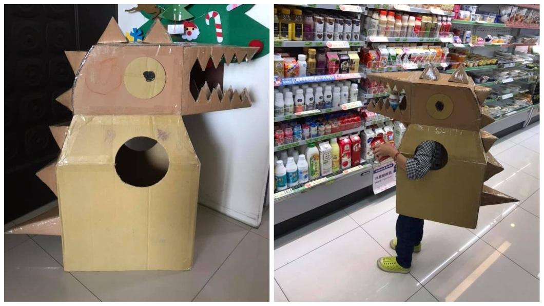 一名媽媽網友分享自己做了恐龍裝,送5歲兒當生日禮物。(圖/翻攝自爆廢公社) 送5歲兒生日禮…狂媽一晚做出「恐龍裝」 網:為母則強