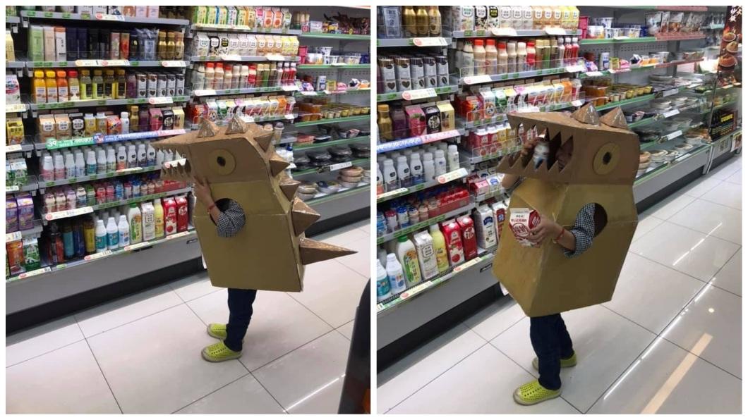 兒子穿上恐龍裝到便利超商買飲料。(圖/翻攝自爆廢公社)