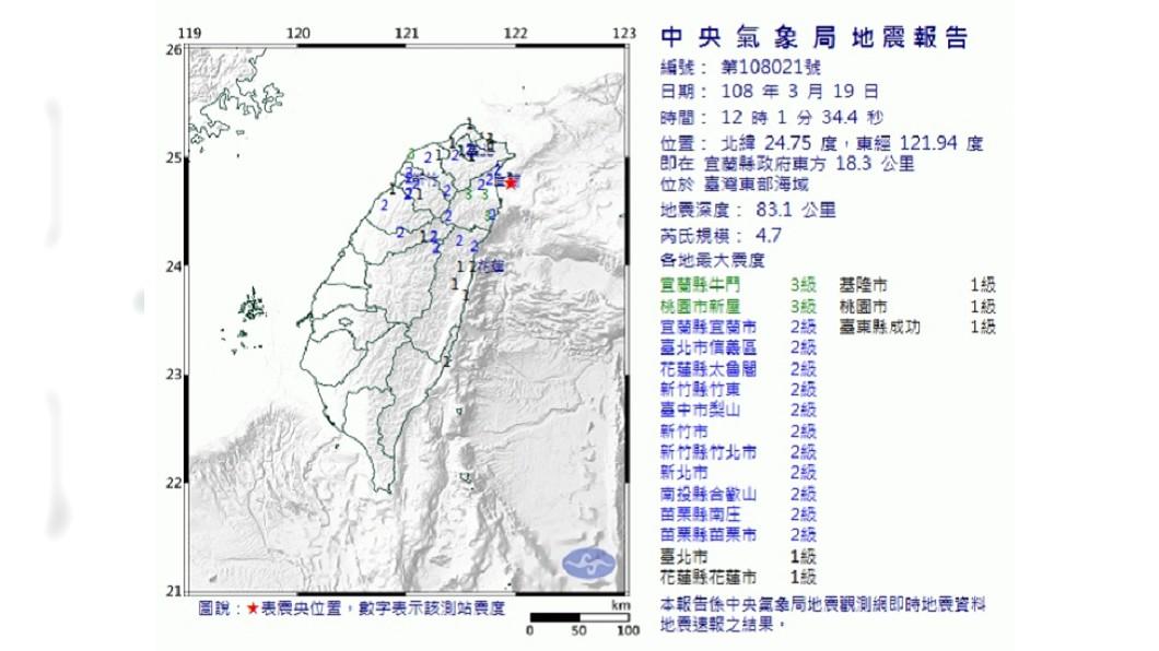 圖/翻攝自中央氣象局網站 12:01宜蘭地震 規模4.7北台灣有感