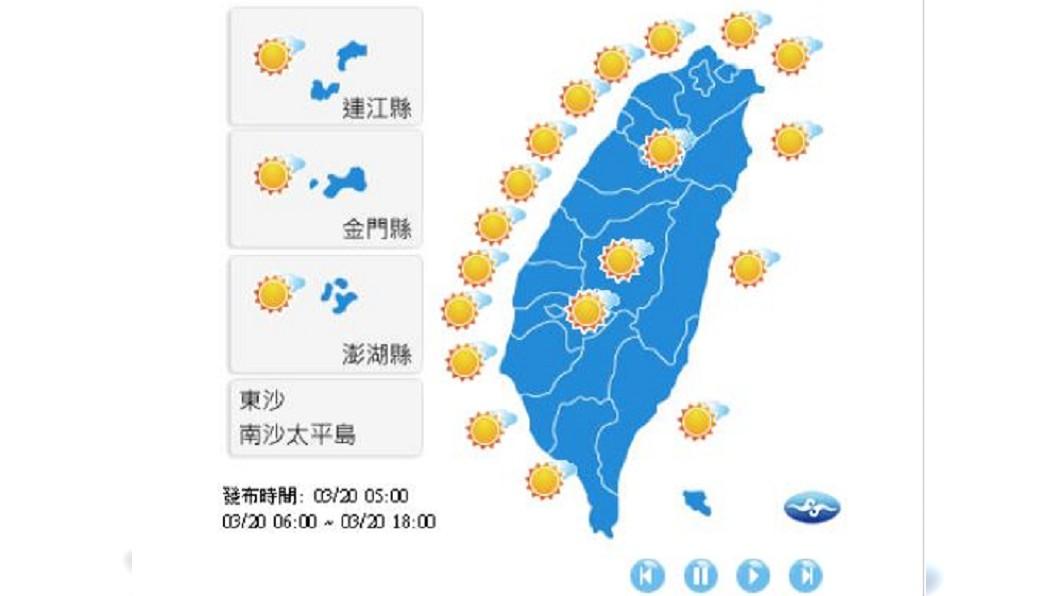 今日全台高溫暖熱。圖/翻攝自中央氣象局
