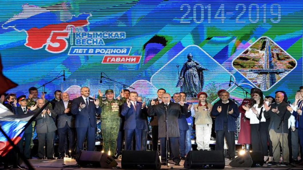 圖/達志影像路透 入侵克里米亞5周年 俄中同歡.普欽親臨晚會