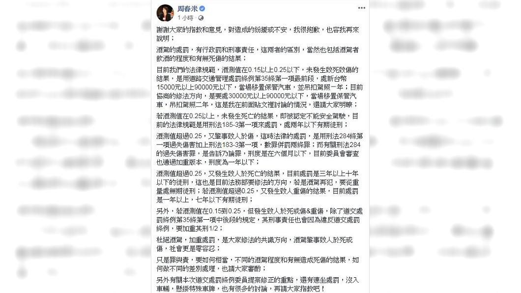 面對網友們的抨擊,周春米又在臉書發文回應自己的看法。(圖/翻攝自周春米臉書)
