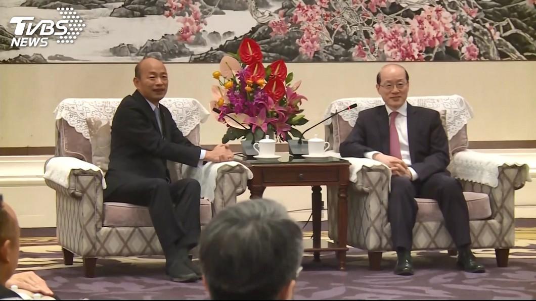高雄市長韓國瑜(左)會見大陸國台辦主任劉結一(右)。圖/TVBS 「韓市長說好的政治0分呢?」洪慈庸:陸委會應積極調查