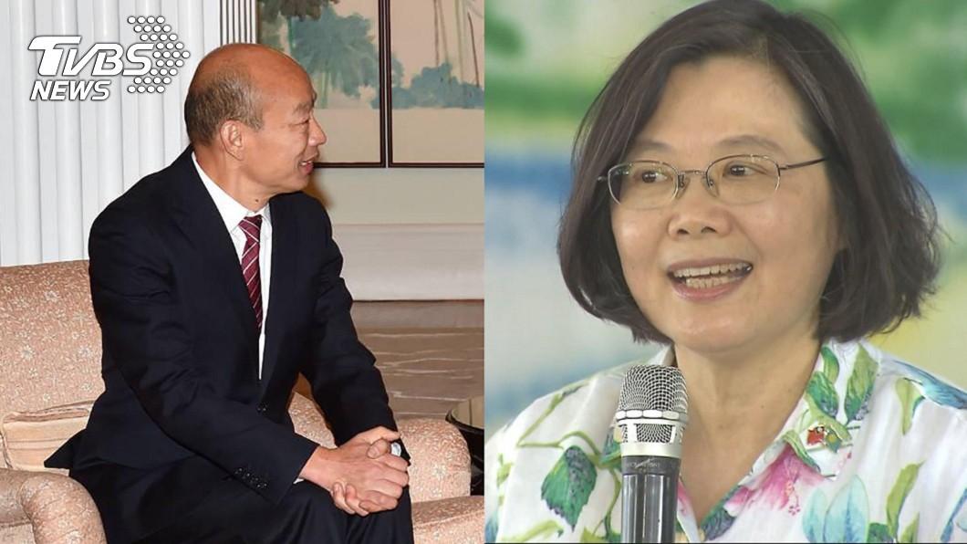 總統蔡英文(右)、高雄市長韓國瑜(左)。圖/中央社、TVBS 韓國瑜訪陸挨轟賣台 她曝「小英翹腳照」嗆:沒教養