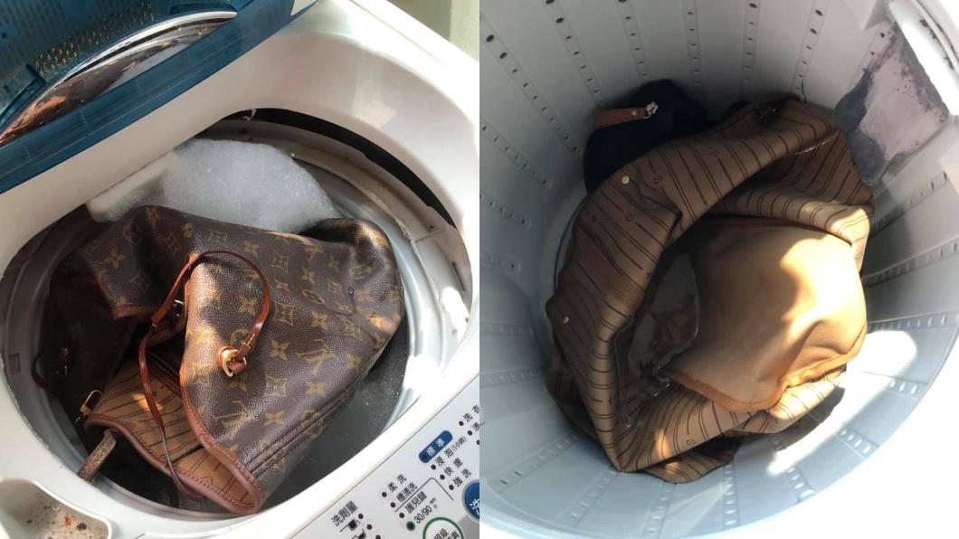 網友分享「機洗名牌包」心得。圖/翻攝自臉書社團《爆廢公社公開版》  LV包「生菇」怎麼辦? 她PO文大推:用洗衣機洗