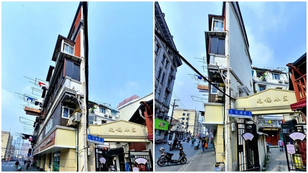 上海這棟紙片樓因為造型獨特,引發各界爭相拍照打卡。(圖/翻攝自陸網) 上海超狂「紙片樓」…最窄僅20公分寬 裡面住40多戶