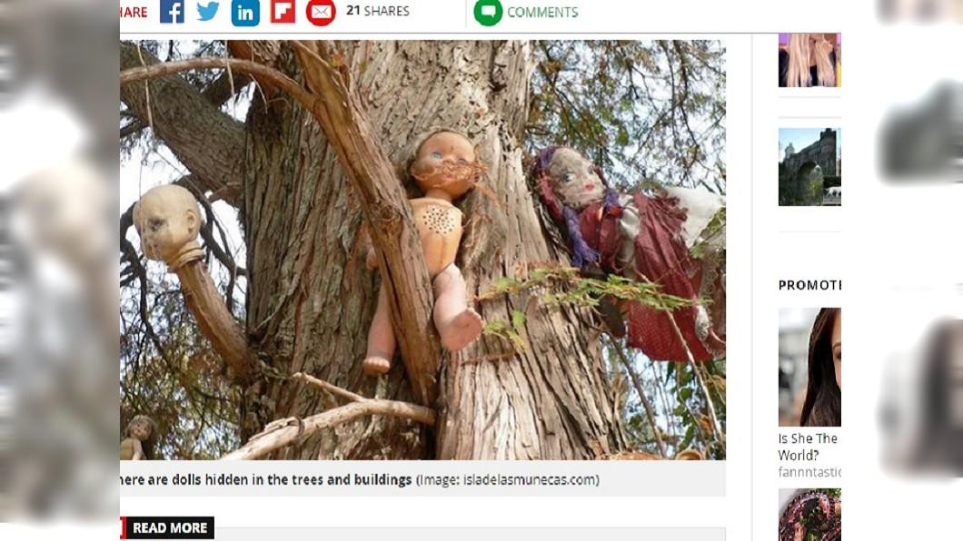 圖/翻攝自《太陽報》 這座鬼島掛滿斷肢「鬼娃」 全被溺斃女童亡靈附身