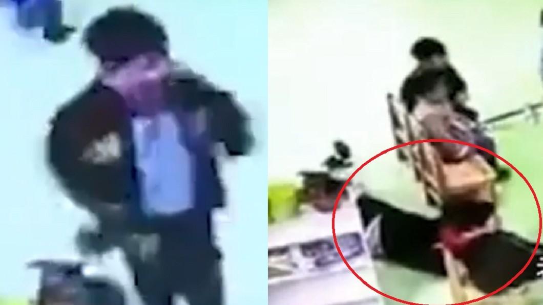男童試圖挖喉嚨取出異物未果,隨後又倒臥在地。圖/翻攝自北京時間 卡異物「痛苦挖喉」!老師顧滑手機 男童慘死全班面前