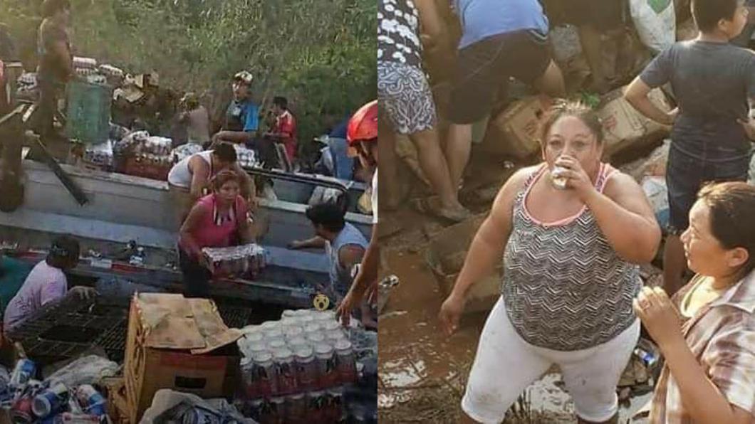 圖/翻攝自El Independiente Veracruz 臉書 卡車載啤酒翻覆!上百民眾瘋搶如活屍…警竟在旁冷看