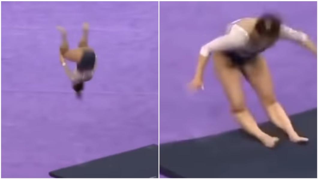 圖/翻攝自YouTube 體操妹空翻失誤 狠摔落地「雙腿秒斷」變形