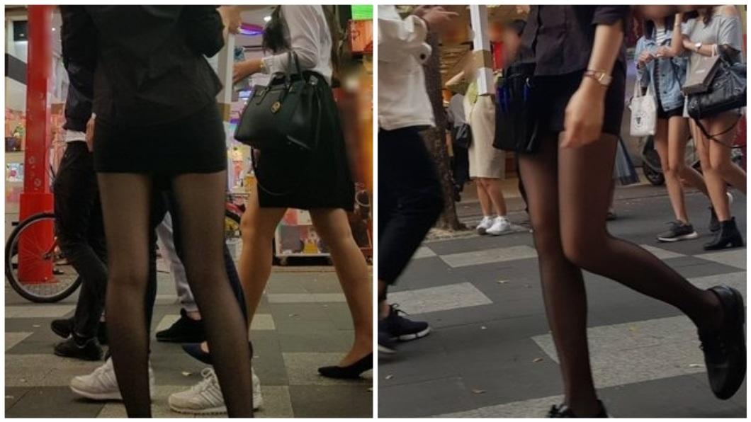 有網友日前在西門町街頭上,看到一名穿著短裙配透膚黑絲襪的正妹,秀出一雙修長的美腿。(圖/翻攝自PTT)