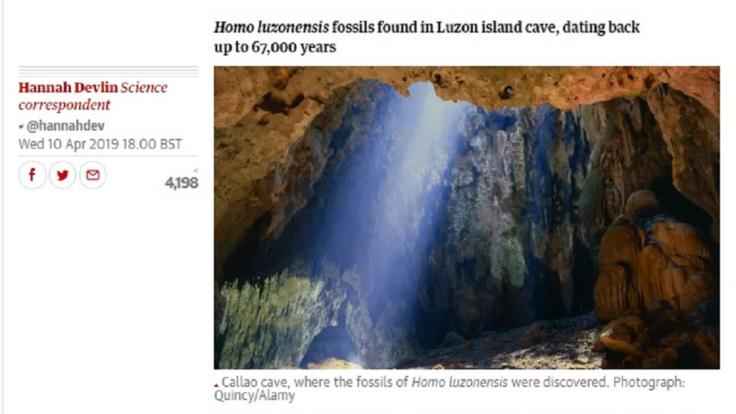 圖/翻攝自The Guardian 人類遙遠的古代親戚 菲國洞穴發現新物種「呂宋古人類」