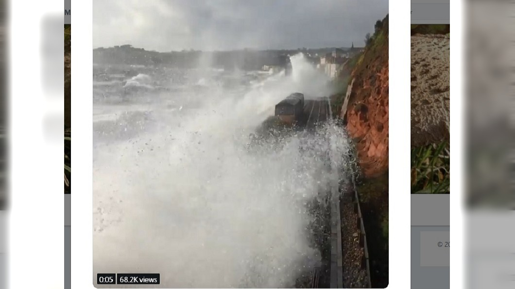 圖/翻攝自推特Bob Cruwys 世界最恐怖火車!行經英吉利海峽 遇暴雨如「衝浪」