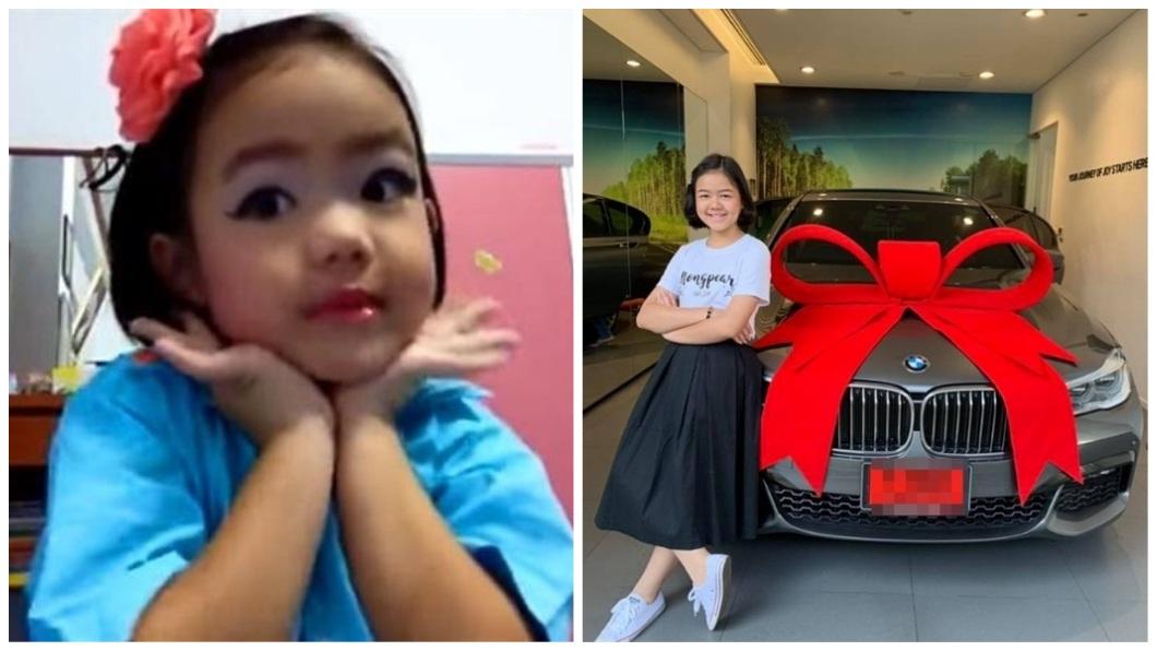 泰國一名年僅12歲的女孩,5歲當網紅就立志當彩妝師,7年努力成真還買了BMW犒賞當自己12歲的生日禮物。(合成圖/翻攝自臉書) 5歲成網紅…立志當彩妝師 12歲買BMW當生日禮送己