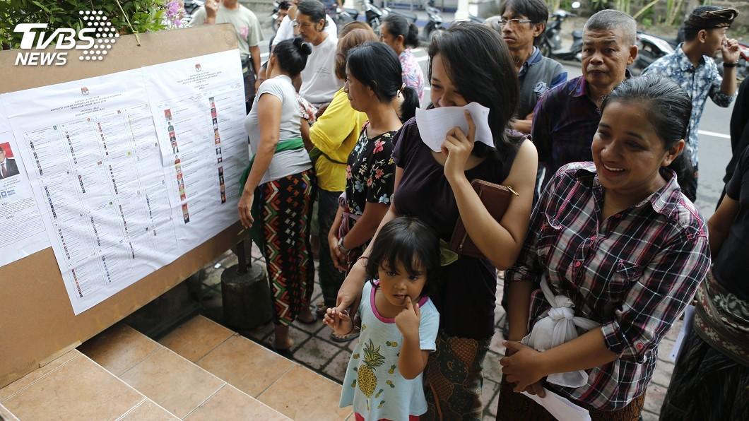 圖/達志影像美聯社 印尼選民開始投票 全球最大單日選舉正式登場