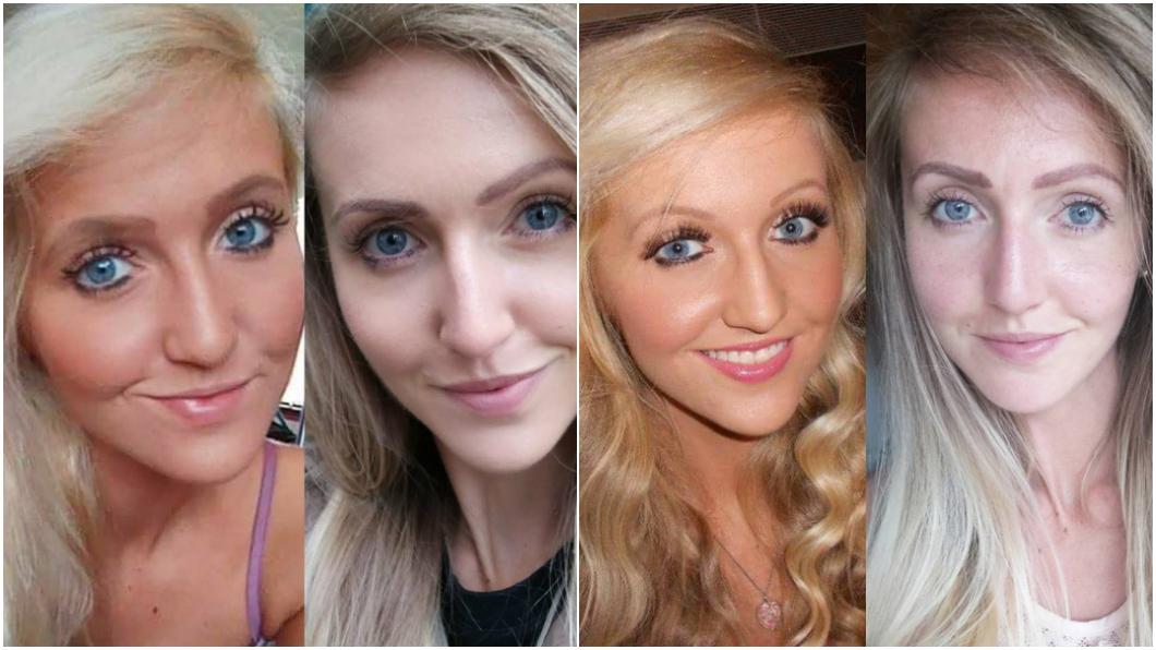 濃妝與素顏對照圖/翻攝自Amy Robb臉書 怕被拋棄正妹5年沒卸妝 男友嚇到分手