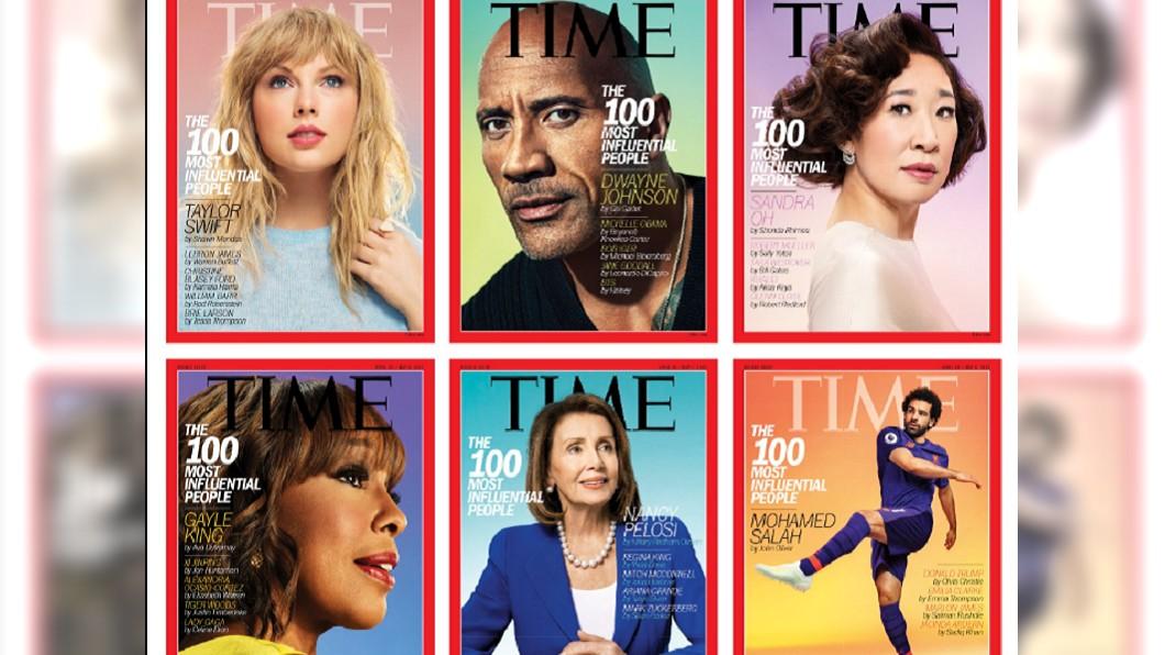 《時代雜誌》2019百大影響力人物封面。圖/翻攝自《TIME》Twitter 2019《時代》百大人物!泰勒絲、巨石強森都上榜