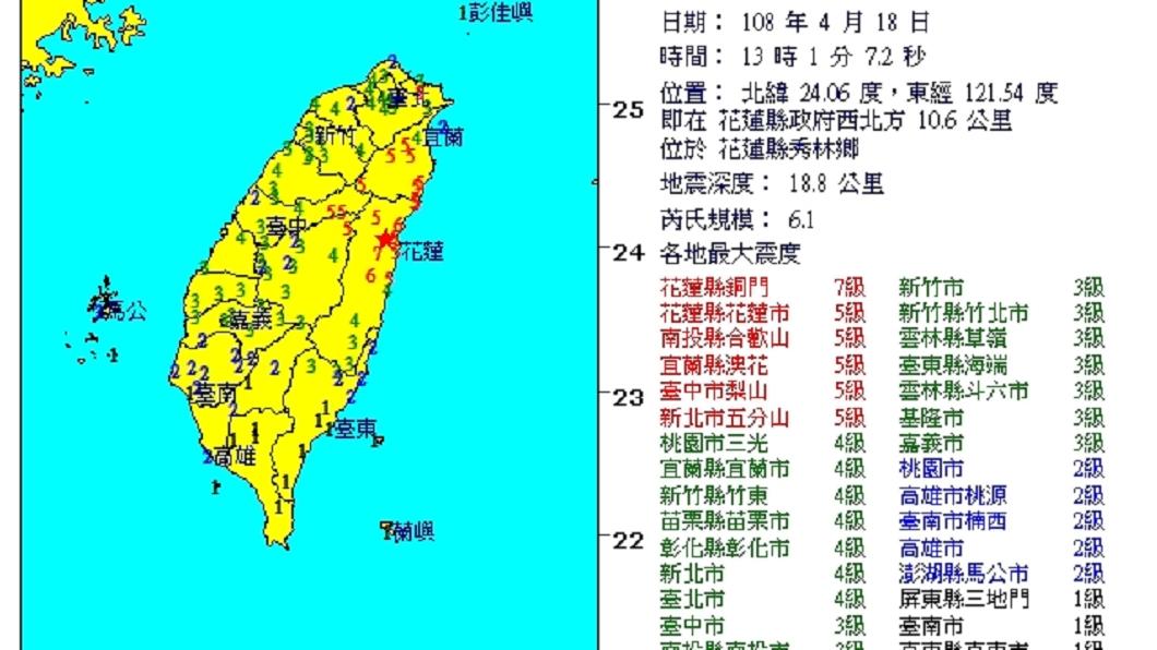 圖/中央氣象局 超級晃!13:01花蓮規模6.1強震 北捷全線停駛