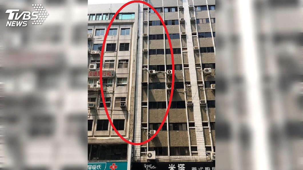 圖/TVBS 花蓮6.1地震!台北長安東路大樓傾斜 住戶已撤離